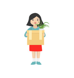 woman is holding a cardboard box with personal vector image