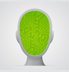 circuit board inside head technology vector image