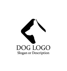 dog wolf logos minimalist black icon - isolated vector image vector image