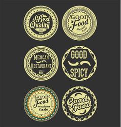 mexican design retro vintage labels black and vector image
