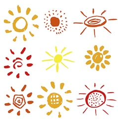 Set of different suns vector image