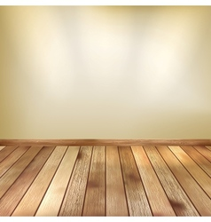 Beige wall with spot lights wooden floor EPS 10 vector image