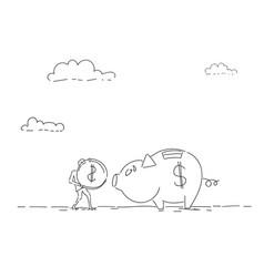 Business man put coin piggy bank money investment vector