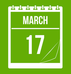 calendar with date of march 17 icon green vector image