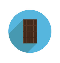 Round dark chocolate bar icon long shadow tasty vector