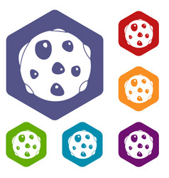 alone planet icons set hexagon vector image vector image
