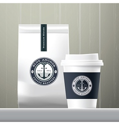 Blue anchor coffee cup and food paper bag vector