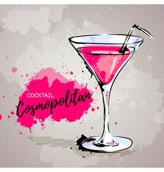 Hand drawn cocktail cosmopolitan vector image vector image
