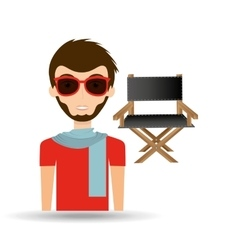 man hipster concept movie cinema director chair vector image vector image