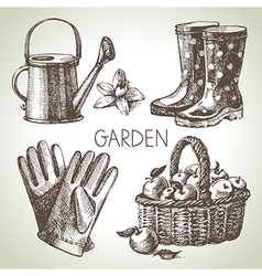 Sketch gardening set vector image