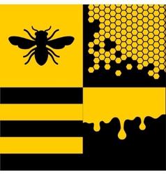 Bee Honeycells and Honey Patterns Set vector image