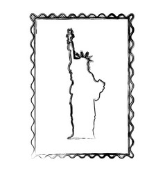 blurred silhouette frame of statue of liberty vector image
