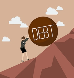 Business woman pushing heavy debt uphill vector image vector image
