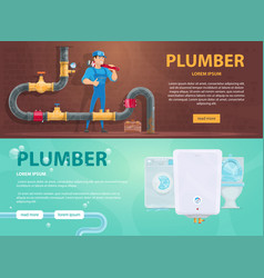 colorful plumbing horizontal banners vector image vector image