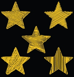 Set Of Hand Drawn Scribble Gold Stars Icon Set 2 vector image vector image