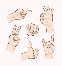 Set of various hand gestures vector image