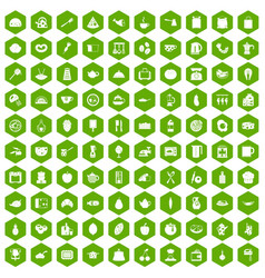 100 cooking icons hexagon green vector