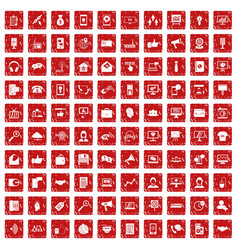 100 help desk icons set grunge red vector