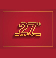 27 anniversary design with simple line style vector