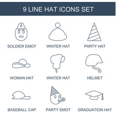 9 hat icons vector