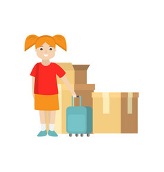 A young woman stands with a suitcase near packed vector