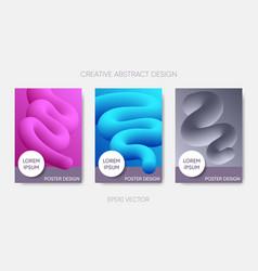 Abstract poster design fluid liquid shapes vector