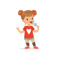 Adorable baby girl eating ice-cream on stick vector