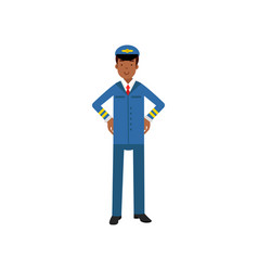 airline pilot in blue uniform standing with hands vector image