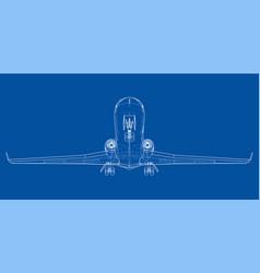 airplane blueprint vector image