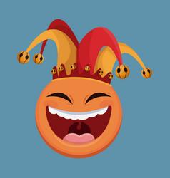 april fools day emoticon smile jester hat vector image