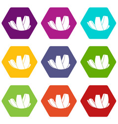 Artscience museum in singapore icon set color vector