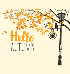 Autumn landscape with tree crow and lamp post vector