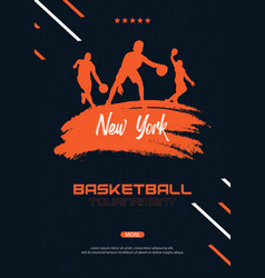 basketball banner with players and hand draw vector image