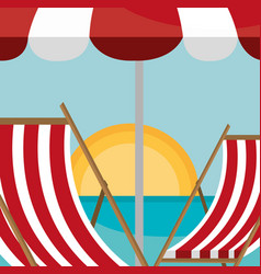 beach landscape with chair and umbrella scene vector image