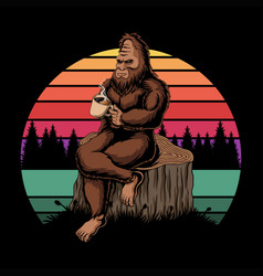 Bigfoot relaxing coffee sunset retro illust vector