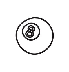Billiard ball sketch icon vector