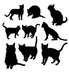 Black silhouette of cat sitting sideways isolated vector