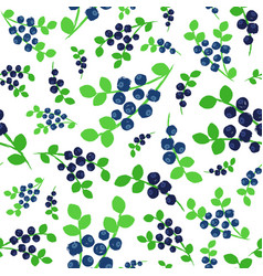 Blueberries background painted pattern vector