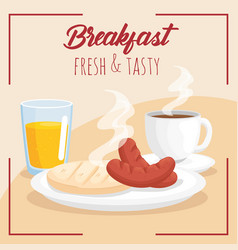 Breakfast arepa sausages juice and coffee cup vector
