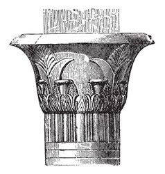 capital in the temple at edfu pilaster vector image