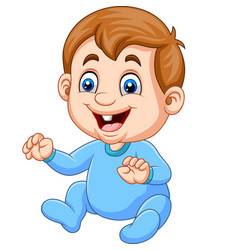 cartoon baby boy wearing blue pajama vector image