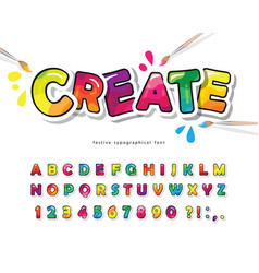 Cartoon colorful font for kids creative paint abc vector