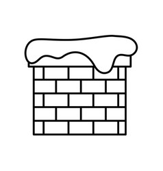 Chimney with snow line style icon vector
