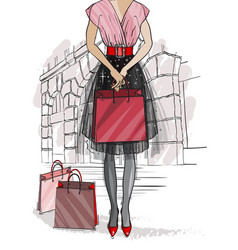 Christmas and new year fashion card city vector