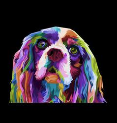 Colorful cocker spaniel dog isolated on pop art vector