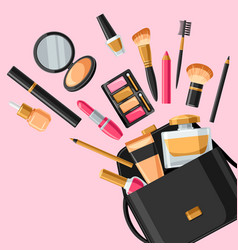 cosmetics for skincare and makeup out of bag vector image