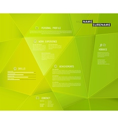 Creative cv template with 3d effect on green vector
