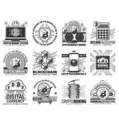 cryptocurrency mining and blockchain icons vector image