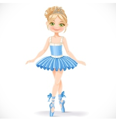 Cute ballerina girl in blue dress vector