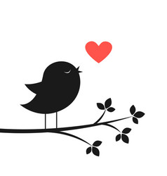 Cute bird and red heart vector